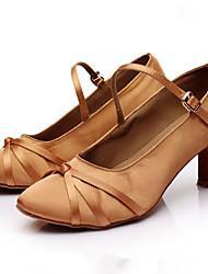 Customizable Women's GIRL'S Dance Shoes Latin / Salsa / Samba Satin Customized Heel Black / Brown