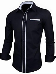 Men's Solid Casual Shirt,Cotton Long Sleeve Black / White