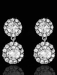 New Vintage Women's Silver Big Drop Earrings Diamond Flower Earring For Wedding Bridal