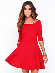 Women's Lace Collar Solid Slim Dress , Party ½ Length Sleeve