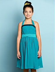 Lanting Bride® Knee-length Chiffon Junior Bridesmaid Dress - Mini Me A-line Halter with Draping