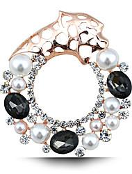 nouvelle mode perle de cristal Broche personnalisé tigre cercle vide
