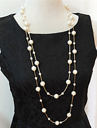Necklace Strands Necklaces / Layered Necklaces / Pearl Necklace Jewelry Wedding / Party / Daily / Casual Pearl / Imitation PearlGold /