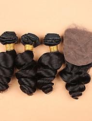 Cheap Human Virgn Hair Loose Wave Silk Base Closure With Bundles Silk Base Closure With Bundles 2/3/Side/Free Part
