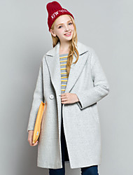 Women's Solid Gray Coat , Casual Long Sleeve Others
