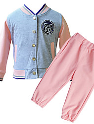 Little Girl's Spring/Autumn Pink and Gray Long Sleeve &Long Pants Clothing Set Low V-Neck Coats with Pocket for 2~6Y