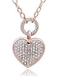 Feminino Colares com Pendentes Colares em Corrente Zircônia cúbica Formato de CoraçãoZircão Rosa Folheado a Ouro imitação de diamante