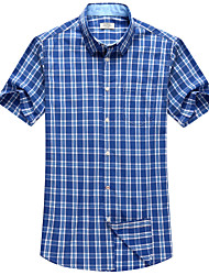 Men's Casual Short Sleeve Cotton Checked Shirt