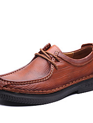 Men's Shoes Office & Career / Party & Evening / Casual Leather Oxfords Black / Brown(Manual manufacture)