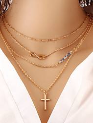 Sideways Cross Necklace Wholesale Women Necklace European Style Cross Infinity Layered Chain Necklace