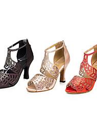 Chaussures de danse ( Noir / Rouge ) - Personnalisable - Talon aiguille - Satin / Suédé - Danse latine