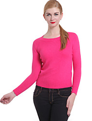 Damen Standard Pullover Retro Solide Rosa Rot Rundhalsausschnitt Langarm Baumwolle Leinen Andere Winter Dick Mikro-elastisch