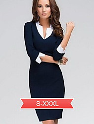 Women's Solid Blue Dress, Sheath/Vintage/Work Asymmetrical Collar ¾ Sleeve