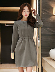 Women's Casual/Daily Plus Size Plus Size Dress,Solid Round Neck Above Knee Long Sleeve Gray Fall