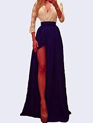 Women's Half Sleeve Deep V-neck Lace Patchwork Split Sexy Long Maxi Dress