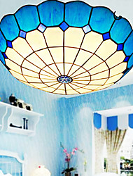 E27 220V 30*9CM 3-5㎡European Rural Creative Arts Stained Glass  Absorb Dome Lamp Led Light