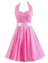 Women's Pink White Mini Polka Dot Dress , Vintage Halter 50s Rockabilly Swing Dress