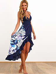 Women's Boho/Ruffle/Asymmetrical Floral Blue/White Dresses,Sexy/Beach V-Neck Sleeveless