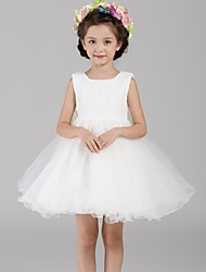 A-line Short / Mini Flower Girl Dress - Lace / Organza Sleeveless Jewel with