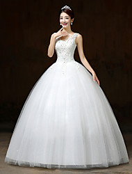 Ball Gown Wedding Dress Floor-length V-neck Lace / Satin / Tulle with Flower