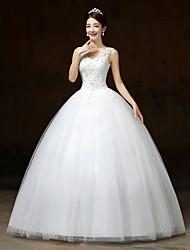 De Baile Vestido de Noiva Longo Decote V Renda / Cetim / Tule com Flor