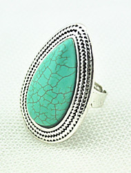 Vintage Look Antique Silver Water Drop Honey Gift Turquoise Stone Adjustable Free Size Ring(1PC)