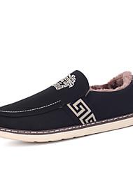 Herren-Loafers & Slip-Ons-Outddor Lässig Sportlich-Stoff-Flacher Absatz-Komfort-Schwarz Blau Rot