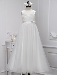 A-line Ankle-length Flower Girl Dress - Lace / Tulle Sleeveless Straps with Lace