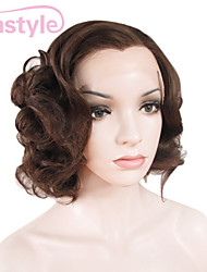 Daily Fashion Bouncy Curl Lady Short Cut Medium Brown Top Quality Synthetic Wigs