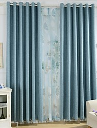 Two Panels Modern Neutral Blue Dining Room High-Grade Flax Window Shades Blend Panel Curtains Drapes