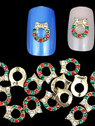 10pcs Christmas Wreath 3D Rhinestones Alloy Nail Art Decoration