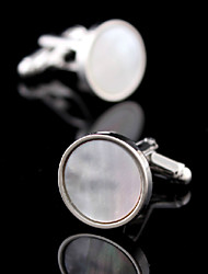 Fashion Copper Men Jewelry Silver Round Natural White Sea Shell Delicate Button Cufflinks(1Pair)