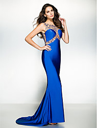 Formal Evening Dress Trumpet / Mermaid Scoop Court Train Jersey with Beading