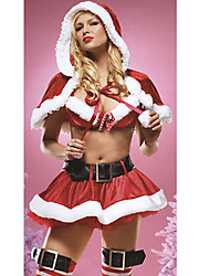 Sweet Polyester Sexy Women's Christmas Costume(Top+Skirt+Hat+Belt)