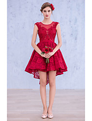 Cocktail Party Dress Ball Gown Bateau Short / Mini Lace / Spandex with Lace