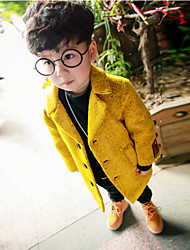 Boy's Cotton Winter Fashion  Solid Color Thicken woolen Lapel Coat
