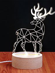 3D Creative Vision Anima Lamp Night Light Wood Deer Christmas Gift