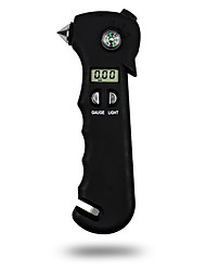 DearRoad 5-In-1 Car Emergency Tire Pressure Gauge with Emergency Hammer/Compass/Seatbelt Cutter and LED Flashlight