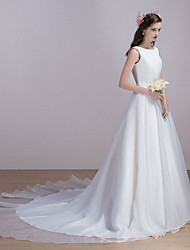 Wedding Dress Chapel Train Bateau Organza / Satin