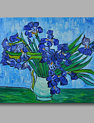 Ready to hang Stretched Hand-Painted Oil Painting Canvas Van Gogh repro Vase with Blue Irises One Panel