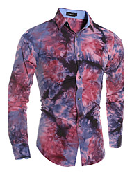 Men's Classic Tie-Dye Printing Long Sleeved Shirt , Cotton / Polyester Casual Print