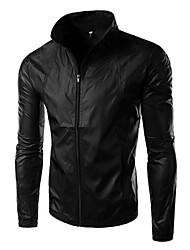 Men's Long Sleeve Jacket , Spandex Casual Pure