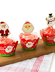 Santa Claus and Snowman for Christmas Baking Cake Paper Cups Moulds Set(12 Surrounding Edge+12 Insert Card)