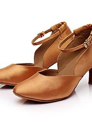 Customizable Women's Girl's Dance Shoes Latin / Salsa / Samba / ballroom SANDALS Satin Black/BROWN