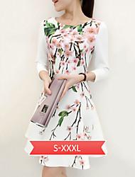 Women's Slim Vintage Floral Print ¾ Sleeve Above Knee Dress
