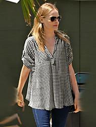 Women's Check Black Shirt , V Neck Short Sleeve, Plus Size