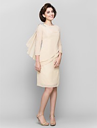 Sheath/Column Mother of the Bride Dress - Champagne Knee-length 3/4 Length Sleeve Chiffon
