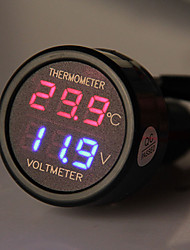 Auto Truck Cigarette Lighter + 2 in 1 LED Digital Voltmeter Thermometer Black