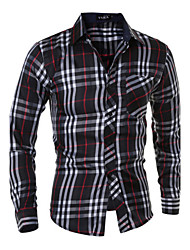 Men's Plaids Casual Shirt,Cotton Blend Long Sleeve Black / Yellow