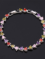 Vogue Luxury AAA+ Zirconia Cubic  Bracelet Bangle 18K Gold Platinum Plated Jewelry High Quality 17CM 19CM
